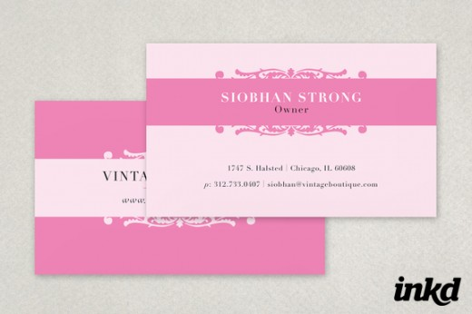 Lovely collection of pink business card designs cssdive pink vintage business card colourmoves