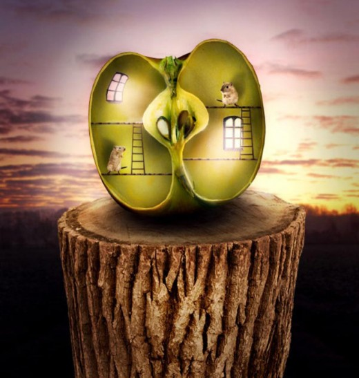 Surreal Apple Habitat Scene