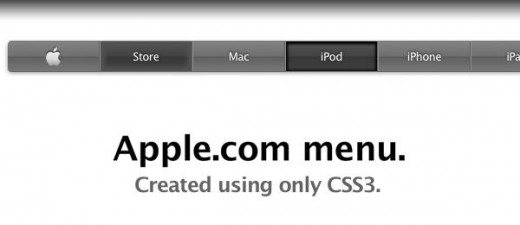 The Apple com navigation menu created using only CSS3