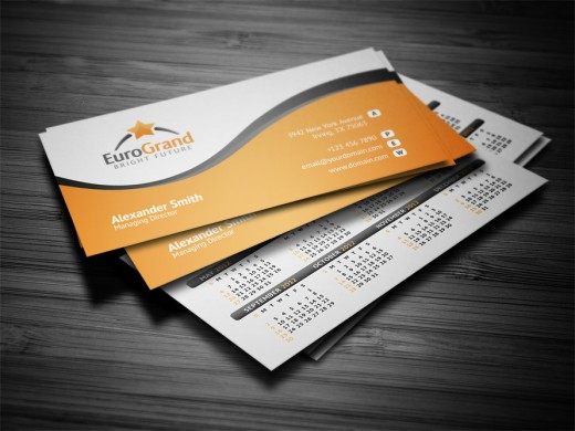 Showcase of beautiful orange business card designs cssdive for Business card calendar