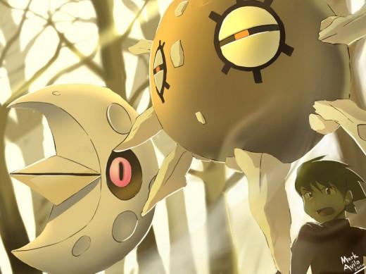 Pokemon Lunatone and Solrock