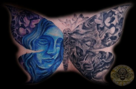 Butterfly Skull Faces Tattoo
