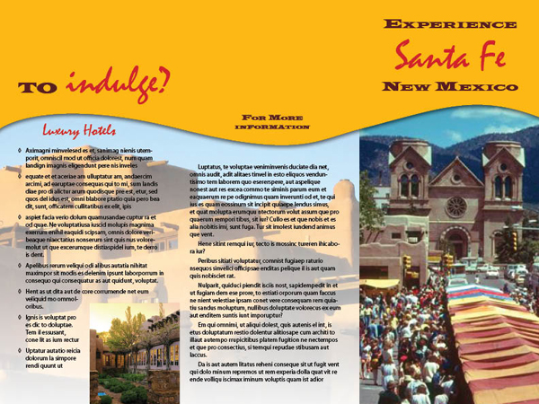 Santa Fe mock travel brochure