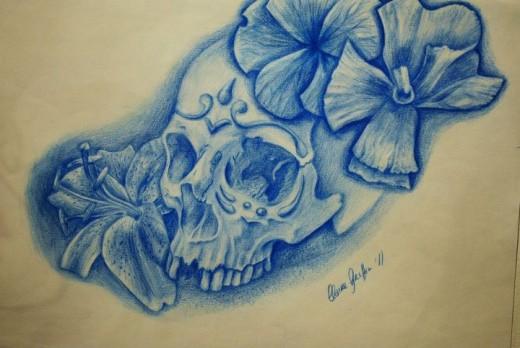 Sugar Skull and Flower Tattoo Design