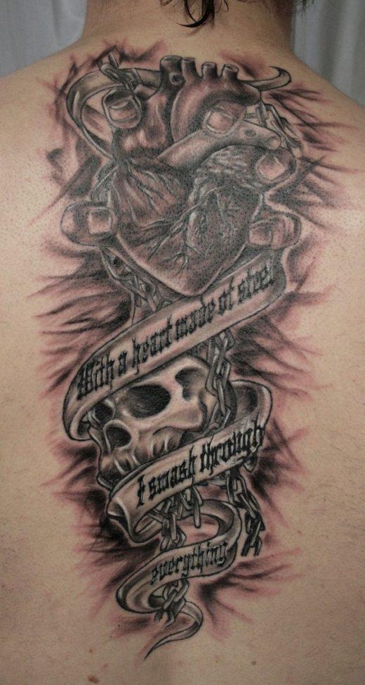 Terror Skull Heart Hand TaT