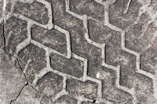 Tire Track in Concrete