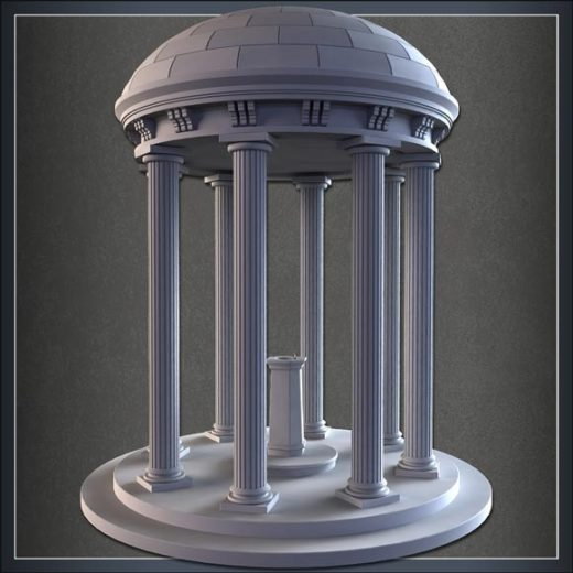 Model a High Rez Domed Fountain Structure in 3ds Max