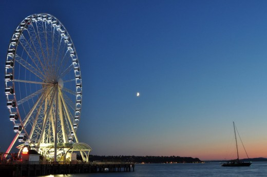 Seattle's Big Wheel With Moon Photo 2