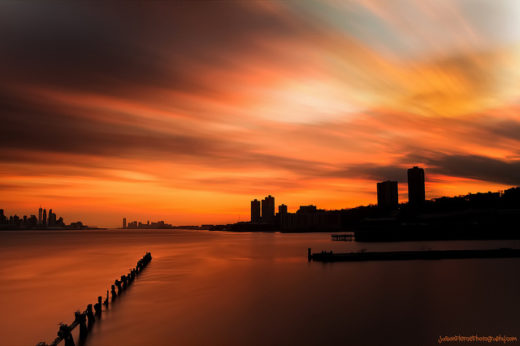 Colorful Sunset on the Hudson River