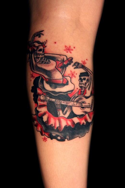 Dancing Skeleton Tattoo