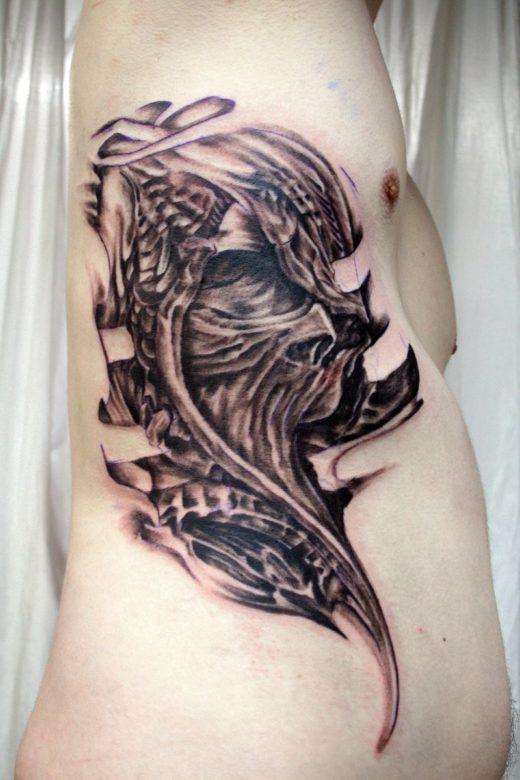 Ribs Skull Tattoo